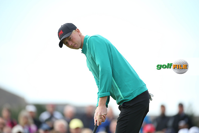 Jimmy Mullen (ENG) gets psyched for his hole winning put on 12 during Sunday morning Foursome matches of The Walker Cup 2015 played at Royal Lytham and St Anne's, Lytham St Anne's, Lancashire, England. 13/09/2015. Picture: Golffile | David Lloyd<br /> <br /> All photos usage must carry mandatory copyright credit (&copy; Golffile | David Lloyd)