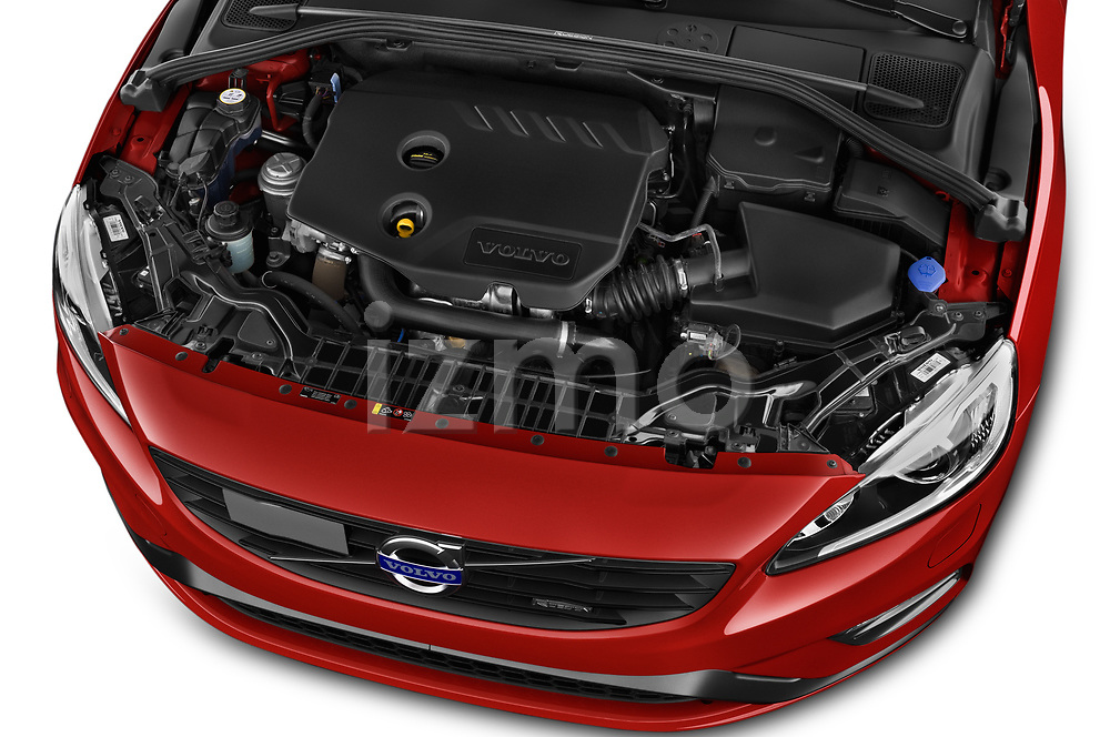 Car Stock 2017 Volvo V60 T6-R-Design 5 Door Wagon Engine  high angle detail view