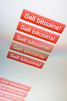 A website buying and selling bitcoins seen on Friday, April 12, 2013.  The digital alternative currency has recently fallen in value after speculators drove up the price to $200 per bitcoin. The MtGox trading exchange halted trading on the currency April 11, 2013 because a lag in processing caused a panic among investors.