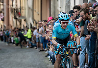 Miguel Angel Lopez (COL/Astana) cheered on up the steep, cobbled & crowded climb in Pinerolo<br /> <br /> Stage 12: Cuneo to Pinerolo (158km)<br /> 102nd Giro d'Italia 2019<br /> <br /> ©kramon