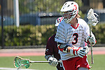 Orange, CA 05/01/10 - Andrew Clayton (Chapman # 3) and Greg Sharron (LMU # 18) in action during the LMU-Chapman MCLA SLC semi-final game in Wilson Field at Chapman University.  Chapman advanced to the final by defeating LMU 19-10.