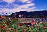 Canoe and Armchair on Dock at Cranberry Lake, Powell River on the Sunshine Coast, British Columbia, Canada