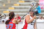Redondo Beach, CA 05/14/11 - Bailey Czech (Redondo Union #23) and Keaton Otake (Los Alamitos #27)in action during the 2011 US Lacrosse / CIF Southern Section Division 1 Girls Varsity Lacrosse Championship, Los Alamitos defeated Redondo Union 17-5.