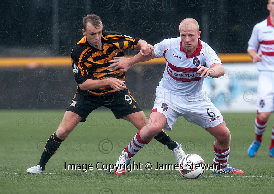 """Stirling's Chris Smith holds off Alloa""""s Greig Spence."""