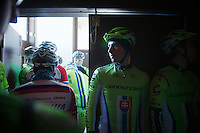 3 Days of De Panne.stage 1: Middelkerke - Zottegem..Riders need to sign inn on stage inside the Middelkerke casino . Peter Sagan (SVK) waiting to be summoned by the MC
