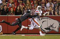 Hawgs Illustrated/BEN GOFF <br /> Kamren Curl (2), Arkansas cornerback, breaks up a pass intended for Darius Slayton, Auburn wide receiver, in the first quarter Saturday, Oct. 21, 2017, at Reynolds Razorbacks Stadium in Fayetteville.