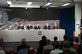 The Soyuz 5 crew members along with Charles J. Precourt, astronaut.office chief and Public Affairs Office (PAO) moderator Doug Peterson (far right) are pictured during a pre-flight press conference at the Lyndon B. Johnson Space Center (JSC) in Houston, Texas on August 29, 2002. From the left are Nominated Space Flight Participant Lance Bass, Flight Engineer Frank DeWinne, and Commander Sergei Zalyotin. DeWinne is affiliated with the European Space Agency (ESA) and Zalyotin represents Rosaviakosmos. .Credit: NASA via CNP