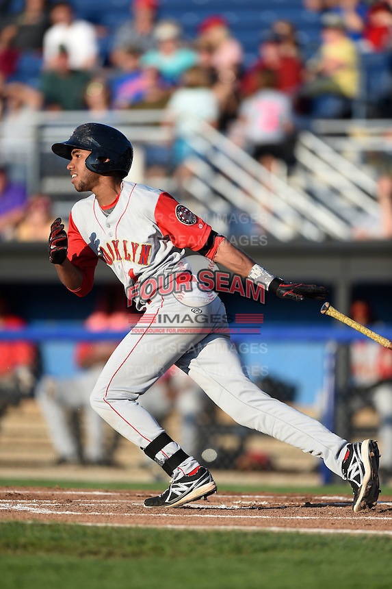 Brooklyn Cyclones shortstop Amed Rosario (1) at bat during a game against the Batavia Muckdogs on August 9, 2014 at Dwyer Stadium in Batavia, New York.  Batavia defeated Brooklyn 4-2.  (Mike Janes/Four Seam Images)