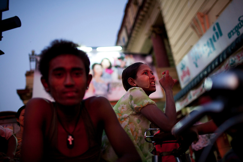 Street scene, Yangon, Myanmar, March 22, 2012.