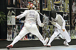 23 MAR 2012:  Evgeniya Kirpicheva, left, of St. John's fences against Luona Wang of Penn in the foil competition of the Division I Women's Fencing Championship held at St. John Arena on the Ohio State University campus in Columbus, OH. Kirpicheva defeated Wang 15-8 to claim the national title.  Jay LaPrete/ NCAA Photos