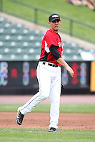 May 2, 2010:  Third baseman Danny Valencia the Rochester Red Wings in the field during a game vs. the Durham Bulls at Frontier Field in Rochester, NY.  Rochester defeated Durham in extra innings by the score of 7-6.  Photo By Mike Janes/Four Seam Images