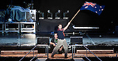 Australian scout are waving his flag at the Opening Ceremony of 22nd World Scout Jamboree Sweden 2011.