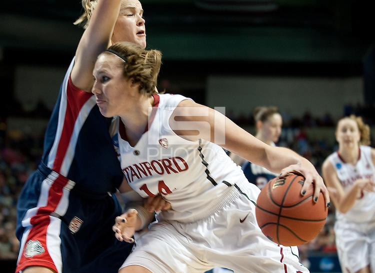 SPOKANE, WA - MARCH 28, 2011: Kayla Pedersen at the Stanford Women's Basketball vs Gonzaga, NCAA West Regional Finals at the Spokane Arena on March 28, 2011.