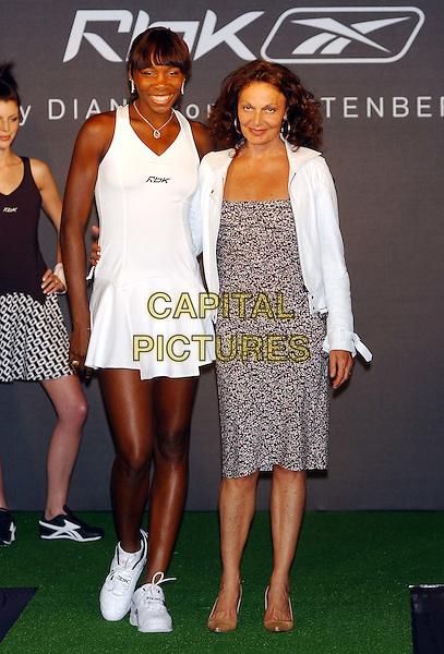 VENUS WILLIAMS.models new Reebok Tennis designs by Diane Von Furstenberg at the Mandarin Oriental Hotel.www.capitalpictures.com.sales@capitalpictures.com.©Capital Pictures.catwalk.tennis dress.full length, full-length