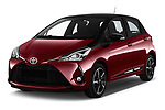 2018 Toyota Yaris Two tone 5 Door Hatchback angular front stock photos of front three quarter view