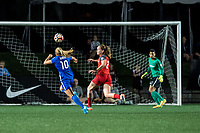 Boston, MA - Friday May 19, 2017: Rosie White and Mallory Weber during a regular season National Women's Soccer League (NWSL) match between the Boston Breakers and the Portland Thorns FC at Jordan Field.