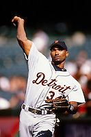 Juan Encarnacion of the Detroit Tigers during a game against the Anaheim Angels at Angel Stadium circa 1999 in Anaheim, California. (Larry Goren/Four Seam Images)