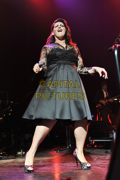 Jodie Prenger.Vintage 2011 at Royal Festival Hall, London, England, UK..July 31st, 2011.stage concert live gig performance music full length black lace dress dance dancing mouth open.CAP/MAR.© Martin Harris/Capital Pictures.