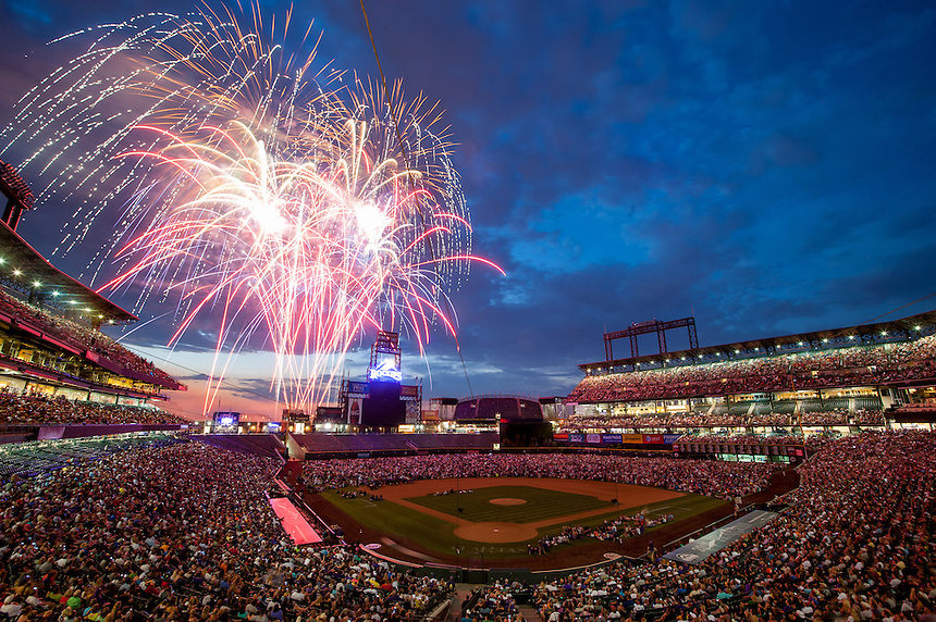 6/30/12 - a general view as fireworks light up the sky and fans sit on the infield at Coors Field after a Padres v Rockies game at coors field in Denver, CO