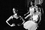 "English National Ballet. Royal Festival Hall season. Triple Bill ""Festival Ballet"". Three dancers watching from the wings."