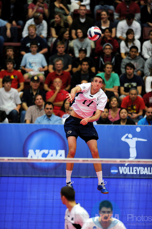 08 MAY 2010:  Joe Sunder (17) of Penn State University serves the ball during the Division I Men's Volleyball Championship held at Maples Pavilion on the Stanford University campus in Palo Alto, CA.  Stanford defeated Penn State 3-0 to win the national title game.  Josh Duplechian/NCAA Photos