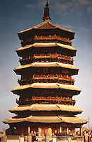 China:  Chinese Architecture--Wooden Pagoda of Ying-xian 1056 A. D.  The oldest surviving wooden pagoda in China and tallest timber building in the world.