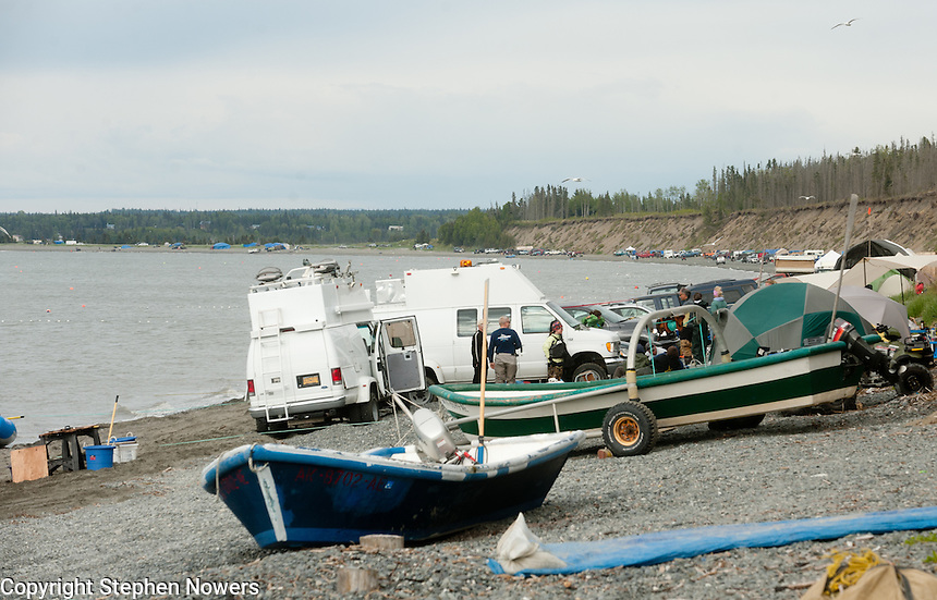 Personal use setnetters on the beach near the mouth of the Kasilof River on Alaska's Kenai Peninsula.