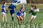 Ella Teahan of Kerry slips the challenge of Carrie Davey of Tipperary in R1 of the MLGFA Minor A Football Championship in John Mitchels GAA Complex on Sunday