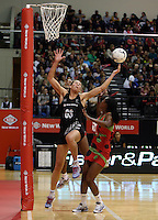 24.10.2013 Silver Fern Irene Van Dyk in action during the Silver Ferns V Malawi New World Netball Series played at the TSB Bank Arena in Wellington. Mandatory Photo Credit ©Michael Bradley.