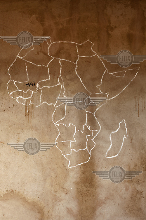 A map of Africa on the wall of a classroom at a school in Koutienso.