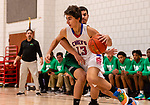 WOODBURY, CT. 08 January 2020-010820BS545 - Nonnewaug's Jon Khazzaka (13) drives the baseline past the defense of Wilby's Jonathan Matias (23), during a Boys Basketball game betweem Wilby and Nonnewaug at Nonnewaug High School on Wednesday. Bill Shettle Republican-American