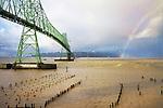 Astoria-Megler Bridge, Columbia River, a steel girder continuous truss bridge spanning the Columbia River between Astoria, Oregon and Point Ellice, Megler, Washington, United States.  Total span 14 miles.  It is the longest continuous bridge in North America.