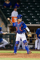 AZL Cubs catcher Richard Nunez (8) prepares to throw a ball to the pitcher during a game against the AZL Giants on September 6, 2017 at Sloan Park in Mesa, Arizona. AZL Giants defeated the AZL Cubs 6-5 to even up the Arizona League Championship Series at one game a piece. (Zachary Lucy/Four Seam Images)