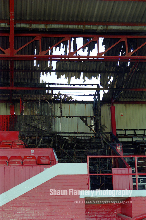 Pix: Shaun Flannery/shaunflanneryphotography.com...COPYRIGHT PICTURE>>SHAUN FLANNERY>01302-570814>>07778315553>>..29th June 1995..Fire damage to the main stand of Doncaster Rovers Belle Vue football ground..Former Chairman Ken Richardson was charged and subsequently found guilty of conspiracy to commit arson. He was jailed for the offence.