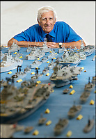 BNPS.co.uk (01202 558833)<br /> Pic: RachelAdams/BNPS<br /> <br /> Master modeller Philip Warren has spent the last 65 years building an incredible fleet of 463 ships - made from more than a million matchsticks.<br /> <br /> Mr Warren, 82, has dedicated more than three quarters of his life crafting the matchstick armada and has built every class of ship in the Royal Navy since 1945.<br /> <br /> Each ship in his huge collection is incredibly detailed and he has even built miniature model aircrafts to go with his huge carrier ships.<br /> <br /> The vessels are all painstakingly hand made using just a ruler, razor blade and glue, and can take up to a year to complete.