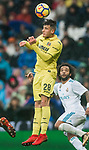 Daniel Rabaseda Antolin, Raba, of Villarreal CF heads the ball during the La Liga 2017-18 match between Real Madrid and Villarreal CF at Santiago Bernabeu Stadium on January 13 2018 in Madrid, Spain. Photo by Diego Gonzalez / Power Sport Images