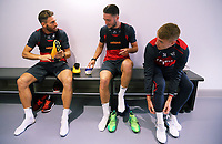 Pictured L-R: Angel Rangel, Matt Grimes and Jay Fulton put their boots on. Tuesday 11 July 2017<br />Re: Swansea City FC training at Fairwood training ground, UK