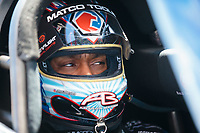 Apr 14, 2019; Baytown, TX, USA; NHRA top fuel driver Antron Brown during the Springnationals at Houston Raceway Park. Mandatory Credit: Mark J. Rebilas-USA TODAY Sports