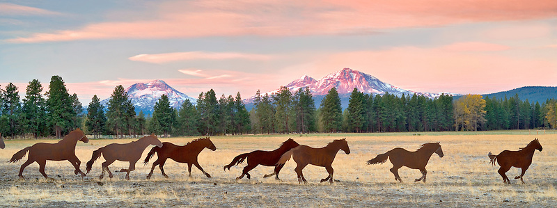 Iron horse sculpture with Three Sisters Mountains-panoramic. Oregon