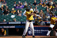Josh Holt Jr. (1) of the Missouri Tigers at bat against the Oklahoma Sooners in game four of the 2020 Shriners Hospitals for Children College Classic at Minute Maid Park on February 29, 2020 in Houston, Texas. The Tigers defeated the Sooners 8-7. (Brian Westerholt/Four Seam Images)
