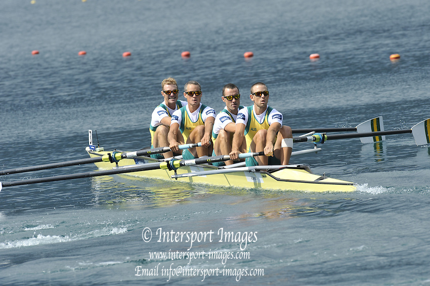 Bled, SLOVENIA.   AUS LM4-, Bow, Anthony Edwards, Sam BELTZ, Benjamin CURETON and Skipp TODD, at the start,  2011 FISA World Rowing Championships, Lake Bled. Tuesday  30/08/2011  [Mandatory Credit; Peter Spurrier/ Intersport Images]