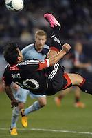 Carlos Ruiz (20) forward D.C Utd attempts an over head kick..Sporting Kansas City defeated D.C Utd 1-0 at Sporting Park, Kansas City, Kansas.