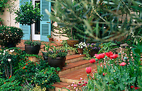 Tiled steps lead up to the front porch -  the walls are painted in a rosy Tuscan pink with turquoise shutters