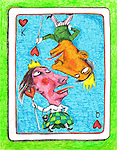 Illustrative image of couple on playing card representing disagreement