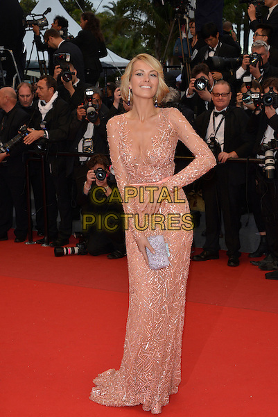 Petra Nemcova. 'All is Lost' premiere at 66th Cannes Film Festival, France 22nd May 2013.full length pink dress beads beaded belt silver clutch bag long sleeves hand sheer.CAP/PL.©Phil Loftus/Capital Pictures.