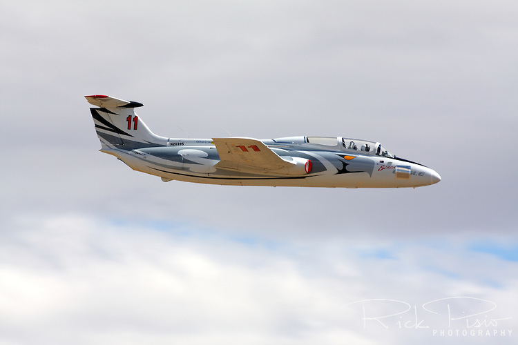 Aero Vodochody L-29 Delfin in flight during a Jet Class heat race as part of the 2010 Reno National Championship Air Races. The L-29 was a standard jet trainer for the air forces of Warsaw Pact nations in the 1960s.