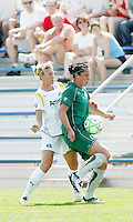 Melissa Tancredi shielding the ball from Stephanie Cox,..Saint Louis Athletica and LA Sol, played to a 0-0 tie at Robert Hermann Stadium in St Louis, MO. April 25 2009.