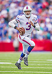 14 September 2014: Buffalo Bills quarterback EJ Manuel scrambles for a 3-yard gain on a keeper play in the second quarter against the Miami Dolphins at Ralph Wilson Stadium in Orchard Park, NY. The Bills defeated the Dolphins 29-10 to win their home opener and start the season with a 2-0 record. Mandatory Credit: Ed Wolfstein Photo *** RAW (NEF) Image File Available ***