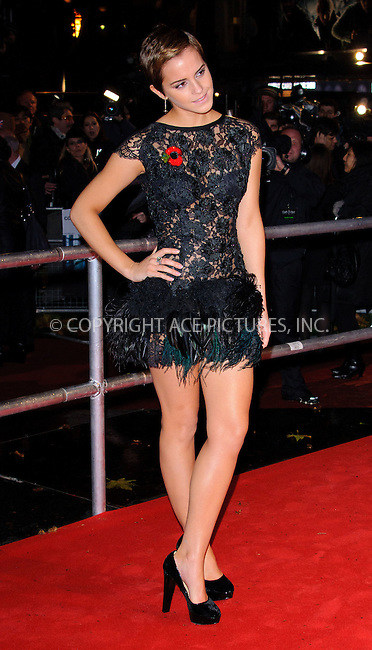 WWW.ACEPIXS.COM . . . . .  ..... . . . . US SALES ONLY . . . . .....November 11 2010, London....Actress Emma Watson at the World premiere of 'Harry Potter and the Deathly Hallows Part 1' held at the Odeon Leicester Square on November 11 2010 in London....Please byline: FAMOUS-ACE PICTURES... . . . .  ....Ace Pictures, Inc:  ..Tel: (212) 243-8787..e-mail: info@acepixs.com..web: http://www.acepixs.com