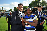 Levi Douglas and Beno Obano of Bath Rugby. Aviva Premiership match, between Bath Rugby and Saracens on September 9, 2017 at the Recreation Ground in Bath, England. Photo by: Patrick Khachfe / Onside Images